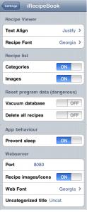 iRecipeBook settings