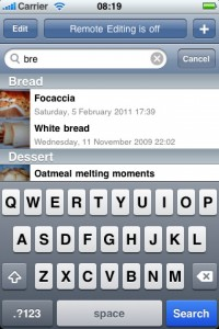 Search recipes on iPhone