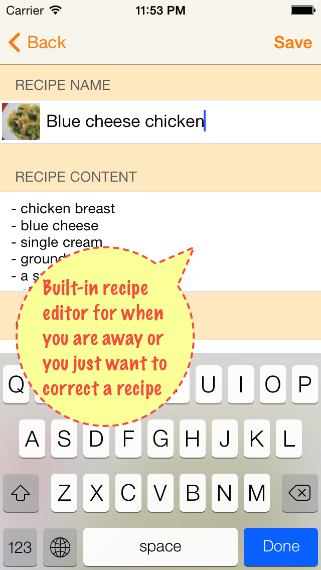 Recipe editor on iPhone
